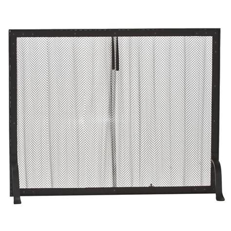 black wrought iron mesh curtain fireplace screen