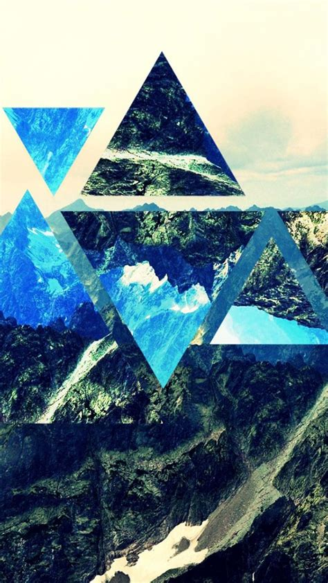 mountains nature collage widescreen triangle wallpaper