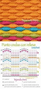 Crochet  Punto Ondas Texturado  O En Relieve   Diagrama O Gr U00e1fico
