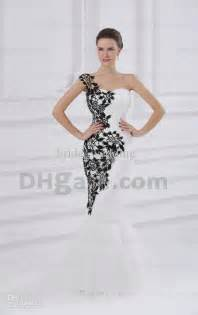 junior bridesmaid dresses cheap black and white mermaid wedding dresses one shoulder sheer lace applique ruched tulle bridal