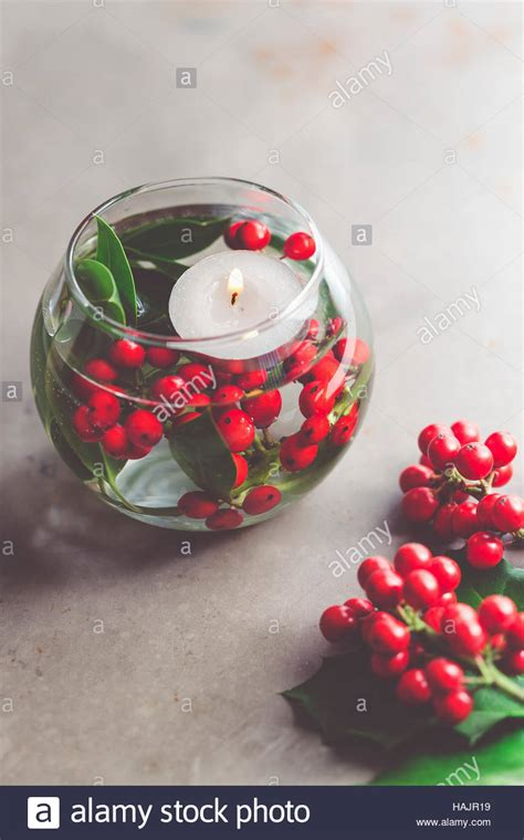 christmas table decoration vase red berries xmas