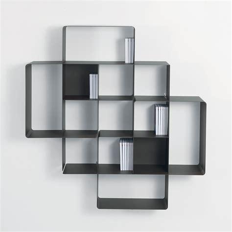 Canapé Lit Italien - lot 2 étagères murales design loft métal gris évidence