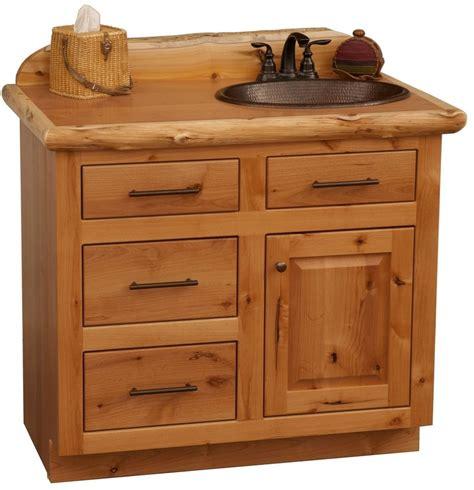 custom rustic alder wood log cabin lodge bathroom vanity