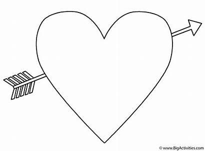 Coloring Arrow Hearts Pages Emoji Heart Valentine