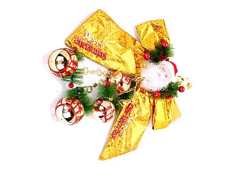santa claus ball bow ornament christmas tree hanger golden w01251 buy at lowest prices