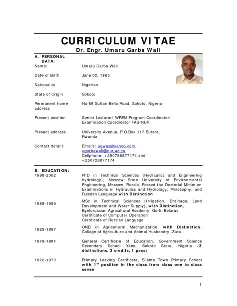 Format For Writing Cv by Format For Writing Cv In Nigeria Cv Format In