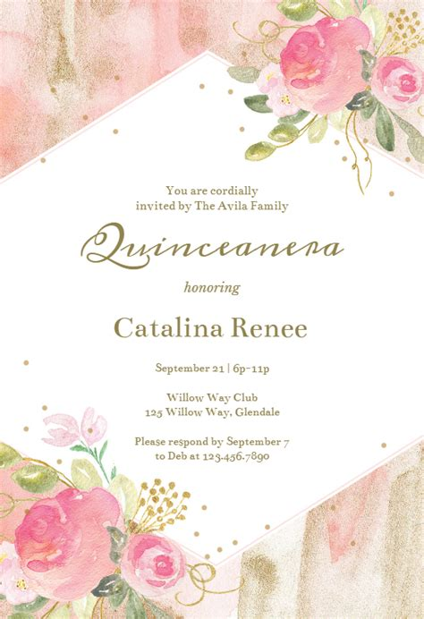watercolor pink  gold frame quinceanera invitation