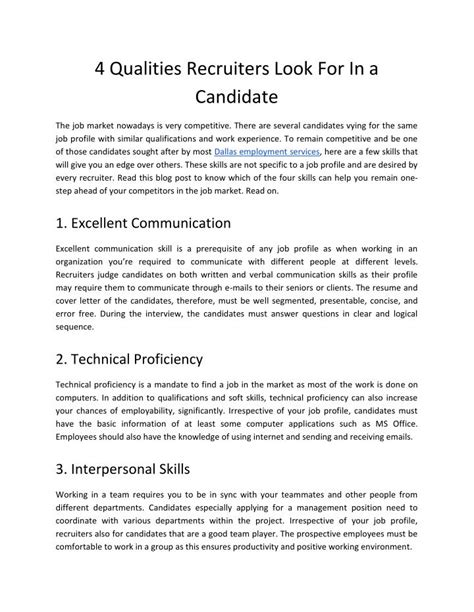 qualities for a candidate ppt 4 qualities recruiters look for in a candidate powerpoint presentation id 7514742