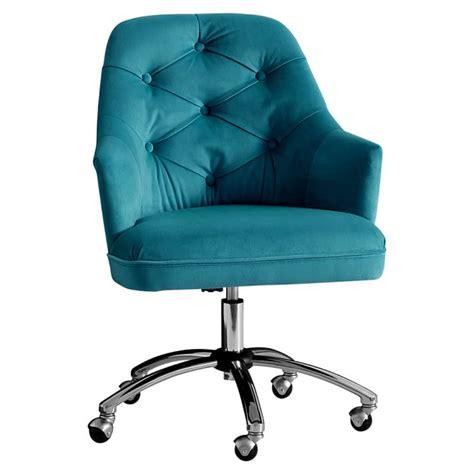 peacock velvet tufted desk chair  turquoise