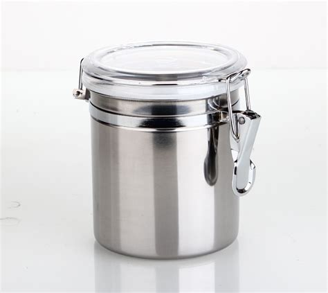 clear plastic kitchen canisters stainless steel airtight canister kitchen storage jars with clear acrylic lid small 0 5 pound