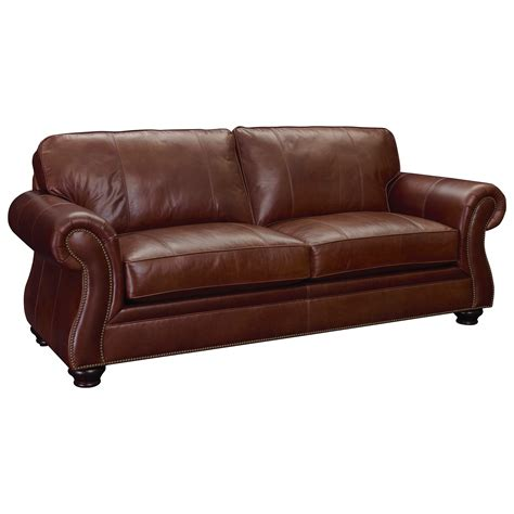 Broyhill Furniture Laramie Leather Sofa With Nailhead Trim