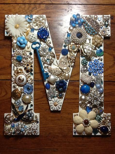 vintage bling monogram wwwsassysistersjewelryetsycom thrift store crafts vintage jewelry