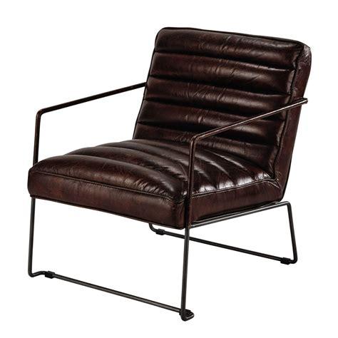 fauteuil en cuir fauteuil en cuir marron pearl maisons du monde
