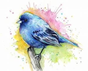 Indigo Bunting Blue Bird Watercolor Painting by Olga Shvartsur