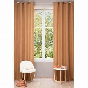 Rideau A Oeillet : rideau oeillets en lin lav orange renard 130 x 300 cm ~ Dallasstarsshop.com Idées de Décoration