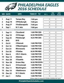 Printable Philadelphia Eagles Football Schedule 2017