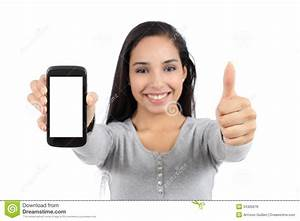 Pretty Smiling Woman Showing A Blank Vertical Smart Phone ...