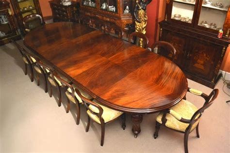 Antique 12ft Victorian Dining Table And 12 Chairs C.1860