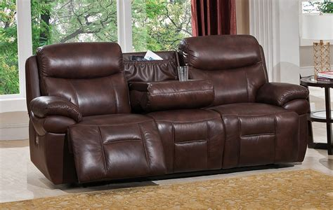 Brown Leather Sofa Set by Summerlands Powered 3pc Reclining Sofa Set In Genuine