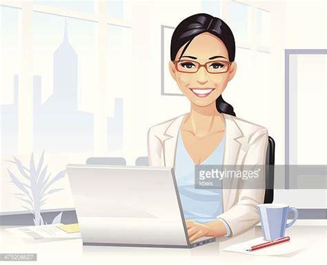 ordinateur de bureau ou portable illustrations et dessins animés de secrétaire