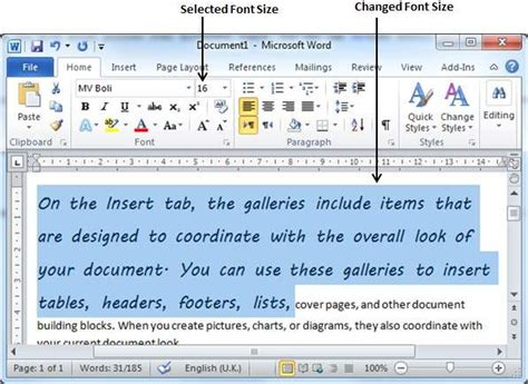 setting text fonts in word 2010