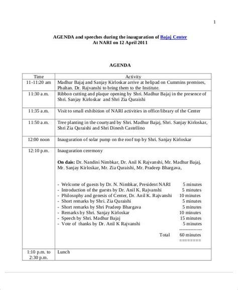 sample ceremony agenda  sample  format