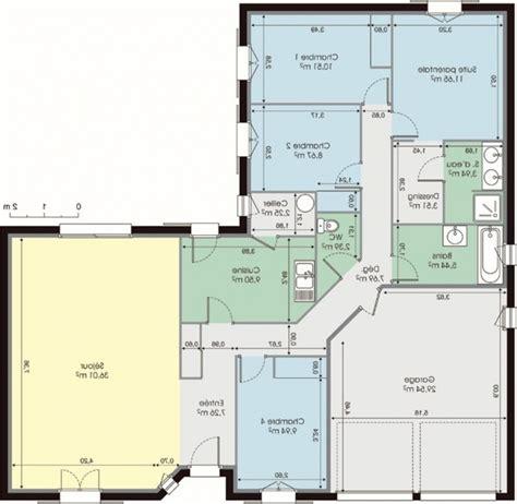 plan de maison plain pied 4 chambres gratuit plan de maison en l gratuit awesome idee contemporary
