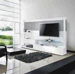 Meuble Design Tv Mural : meuble tv mural blanc et inox 240 cm miraz 04 meuble design ~ Teatrodelosmanantiales.com Idées de Décoration