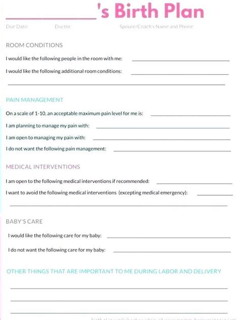 sample birth plan template