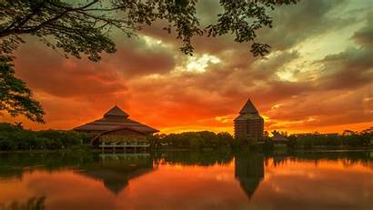 Indonesia University Background Wallpapers Buildings Wall Sunset