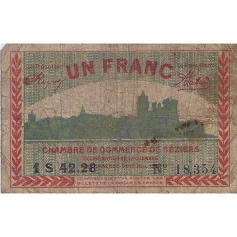 chambre de commerce beziers 34 beziers chambre de commerce 1 franc 1921 tres beau