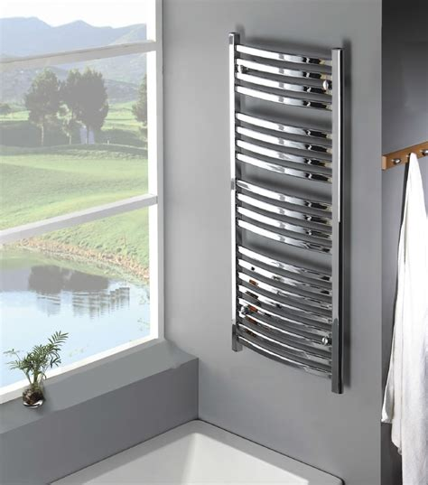 saga mm chrome curved designer towel radiator