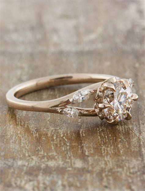 Anya Natureinspired Rose Gold Engagement Ring  Ken. Fire Engagement Rings. Normal Rings. Emerald Wedding Engagement Rings. Ps2 Rings