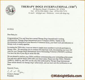 Xena achievements for Sample letter for therapy dog