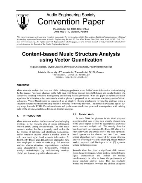 (PDF) Content-Based Music Structure Analysis Using Vector