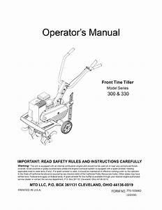 Mtd 21a 332a700 User Manual Front Tine Tiller Manuals And