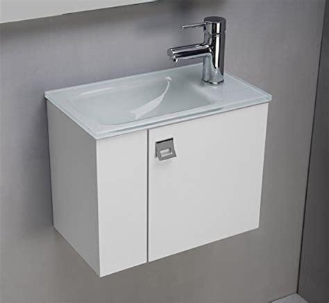 meuble salle de bain avec plan vasque en verre clair laqu 233 blanc cm 44 bricolage pas cher