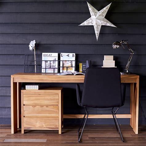 bureau en bureau en teck meuble informatique avec caisson pc