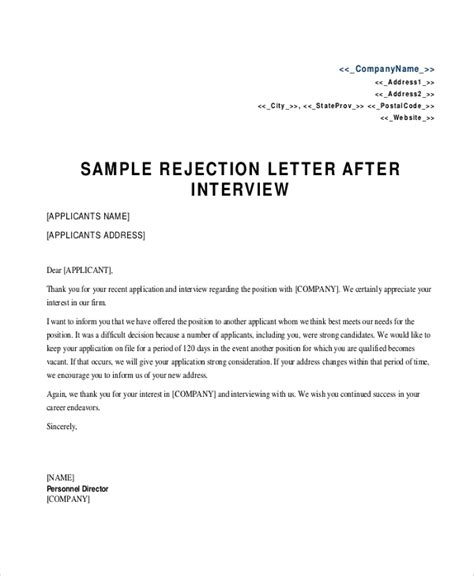 sample rejection letter  examples  word