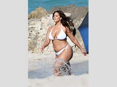 Ashley Graham nearly has wardrobe malfunction in bikini