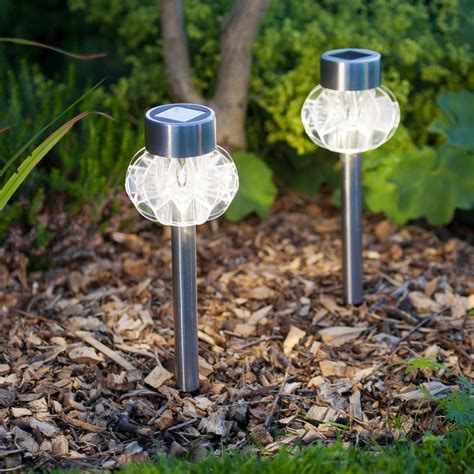 2 warm white led stainless steel solar stake lights