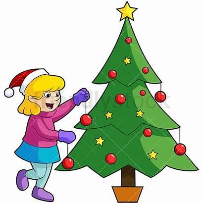 Tree Christmas Decorating Cartoon Clipart Decorations Vector
