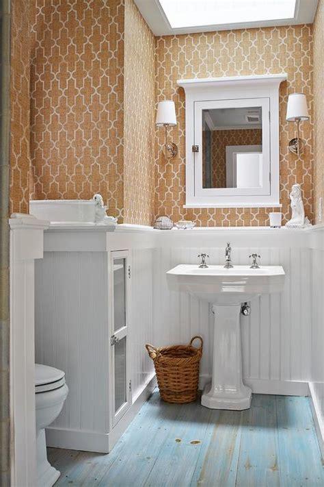 powder room  painted pine floor transitional bathroom