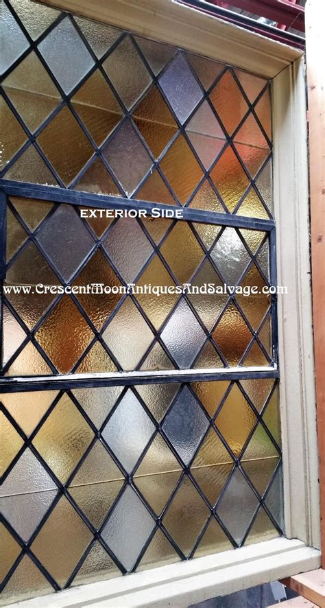large stained glass  diamond shape leaded windows