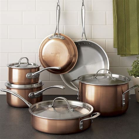 calphalon contemporary tri ply copper  piece cookware set cookware set kitchen essentials