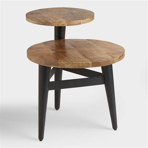 multi level coffee table wood and metal multi level accent table world market