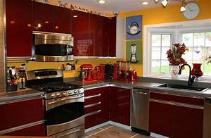 red kitchen decor for modern and retro kitchen design With kitchen colors with white cabinets with fat chef wall art