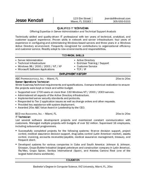 Technologist Resume No Experience by Pharmacy Technician Resume Sle No Experience