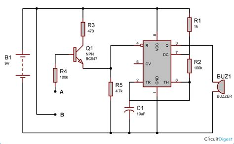 alarm project and circuit diagram using 555 timer ic