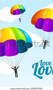 Realistic Detailed 3d Rainbow Parachute People Stock ...